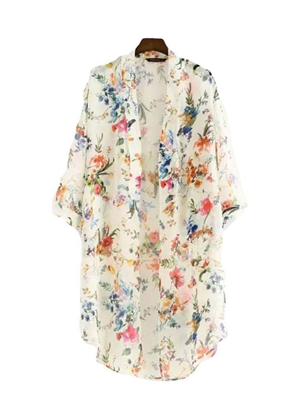 Akery Women's Floral Chiffon Kimono Cardigan Blouse Beach Cover up ...