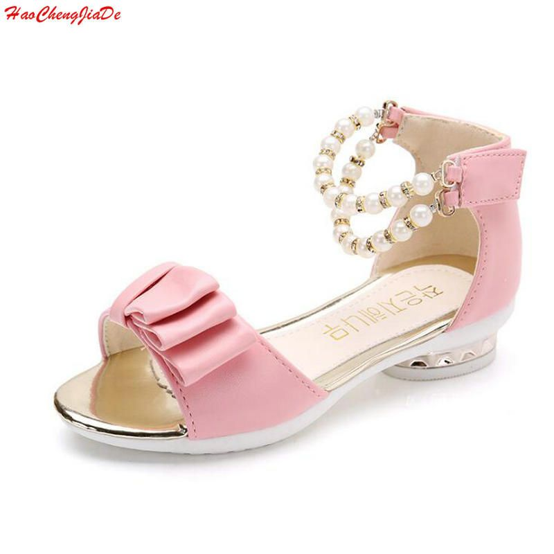 Hot Girls Sandals Summer Kids Shoes 2018 Brand Peep-Toe Bow Children  Sandals Heels For Teen ... 63e964c85f18