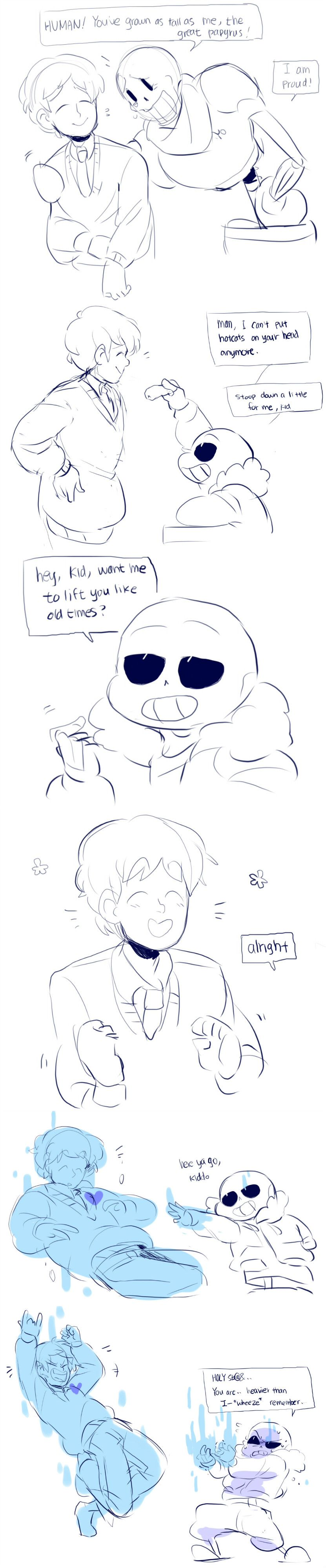 Frisk, Papyrus, and Sans - comic - http://ttoba.tumblr.com/post/133355629294/frisk-now-a-highschooler-visits-underground-to