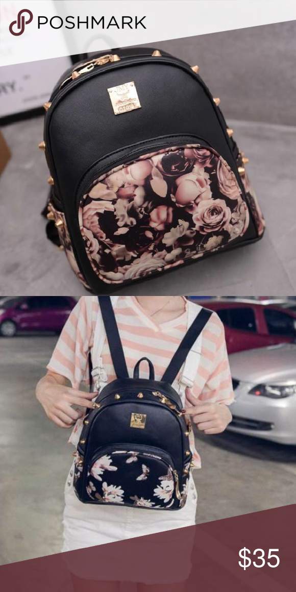 Small black flower backpack Cute small black flower backpack with gold studs NEW Please let me know if you would like one, they ARE available, but I have to order more. Thanks! Bags Backpacks
