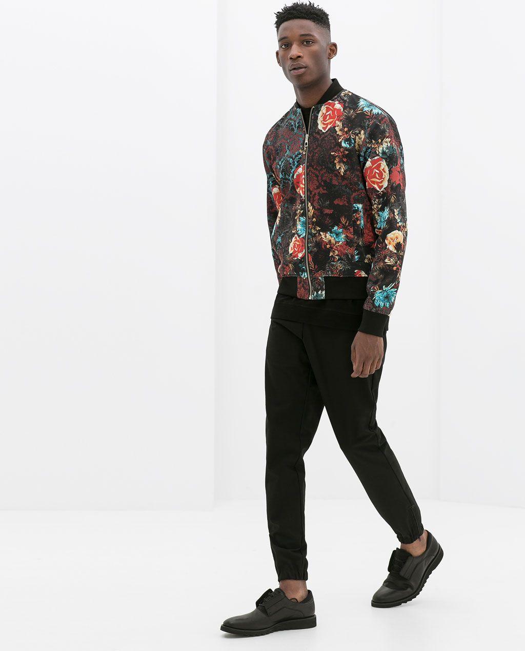 Zara man flower bomber jacket my wardrobe 39 s wish for Zara mens floral shirt