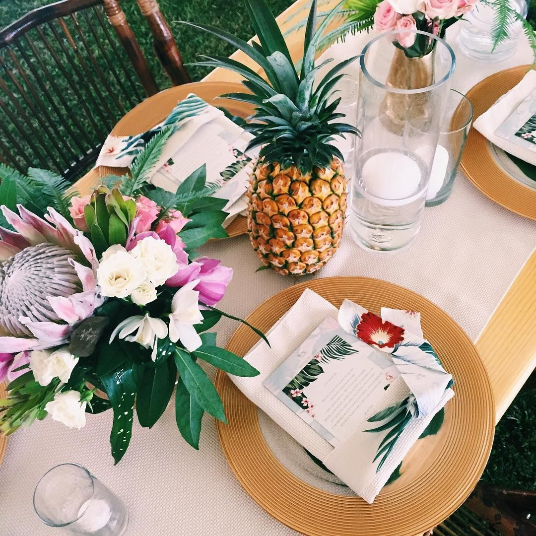 tropical theme party dinner brunch wedding reception