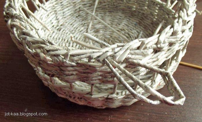 .:Jotkaa: papierowa wiklina, beading: Papierowa wiklina: kurs- ozdobne zakończenie koszyka