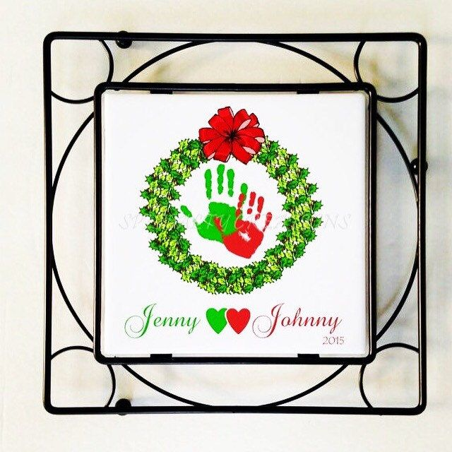 Holiday Hand and Footprint Ceramic Tile w/Black Wrought Iron Frame/Trivet, Mistletoe Footprints, Christms Tree Footprints, Try R Print Kits #mistletoesfootprintcraft