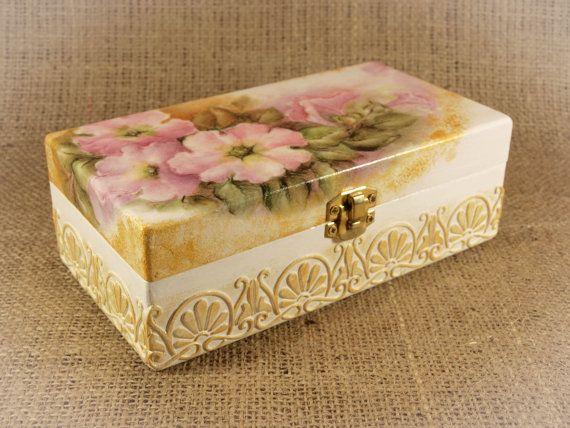 Handmade Decorative Boxes Wooden Vintage Jewelry Box Elegant Gift Decoupage Box Shabby
