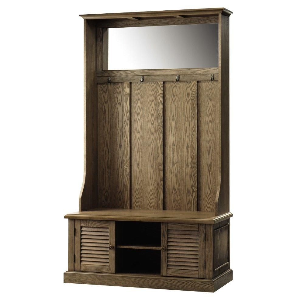 Shutter Weathered Oak Double Hall Tree Hall Tree Weathered Oak Home Decorators Collection