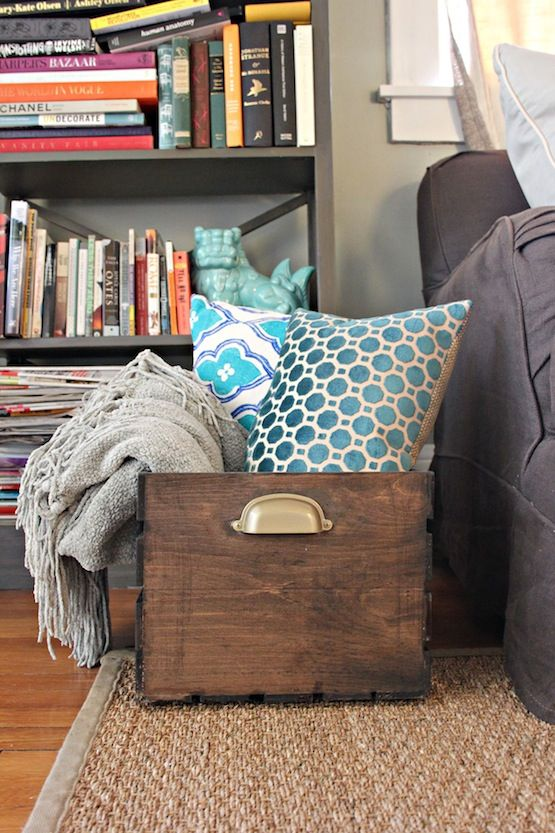 Superbe Finished DIY Wooden Storage Crate With Pillows And Blankets Inside  Wooden  Crate For Blankets. You Can Get These At Michaelu0027s For Cheapo, Then Stain  And Add ...