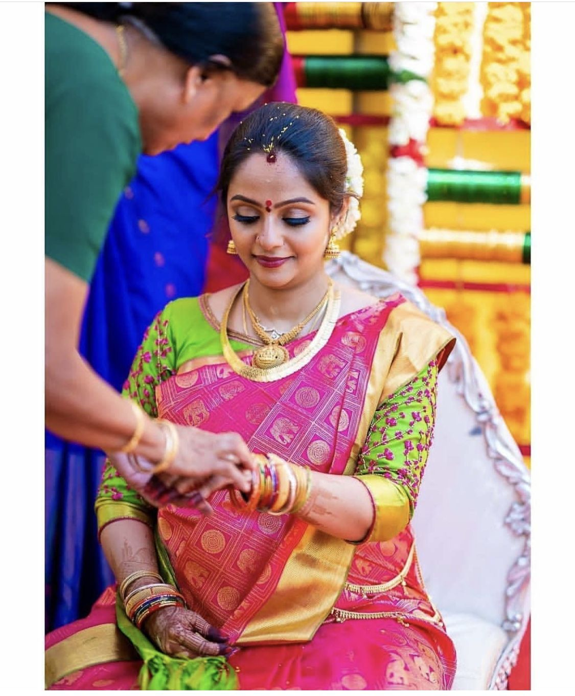 Sreemantham Indian Baby Shower Ceremony Traditional Way Pattu Saree Bridal Blouse Designs South Indian Bride Indian Bridal