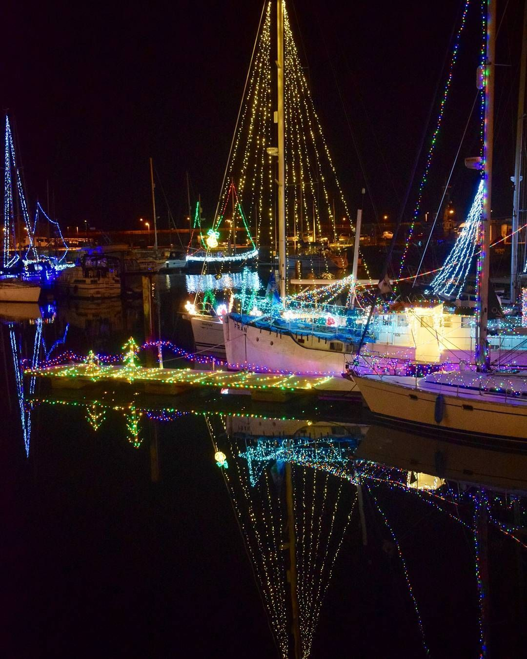 This Photograph Of Christmas Lights In The Marina At The