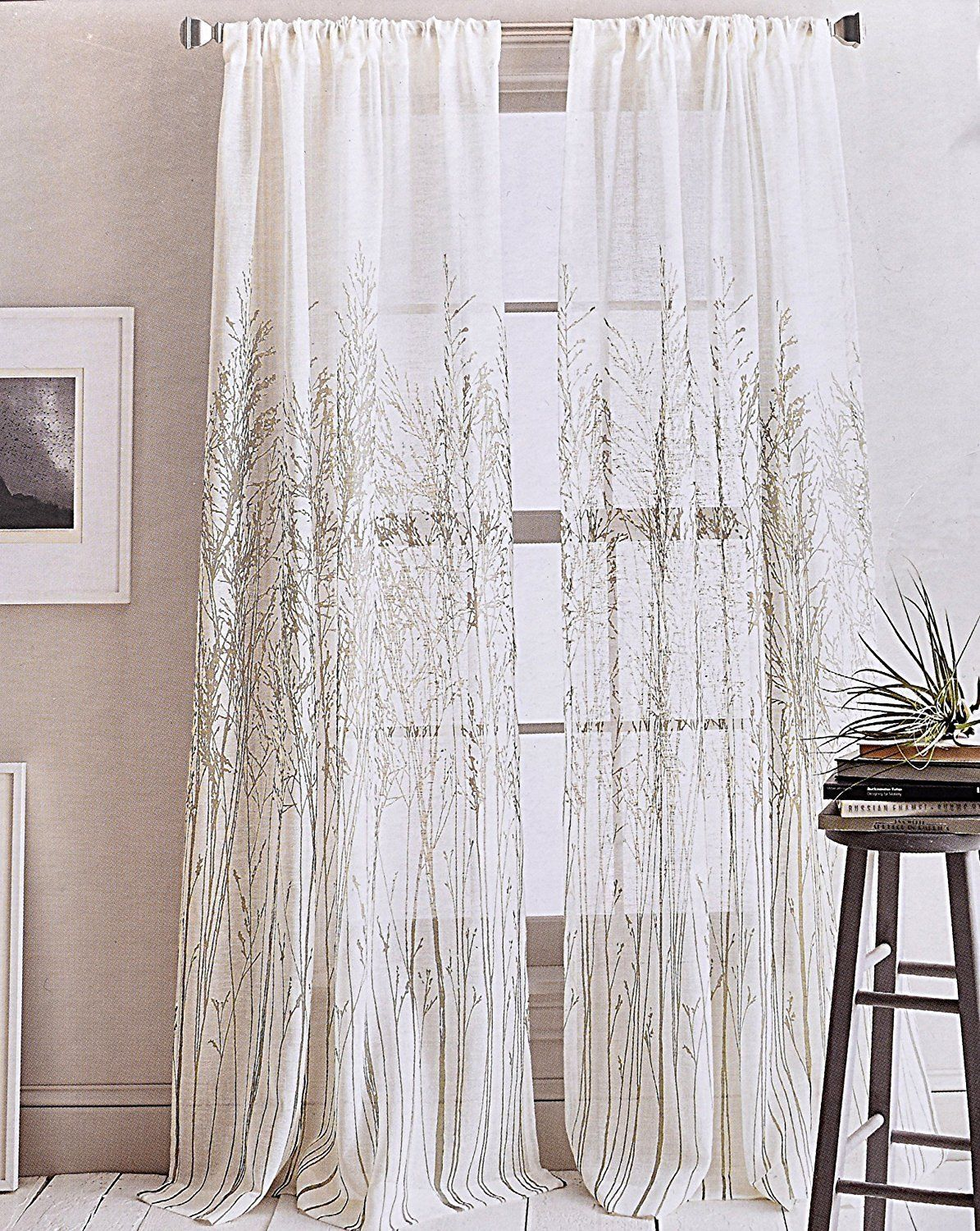 Dkny Floral Vines Branches 2pc Semi Sheer Pair Window Curtain Panels Drapery Tan Ebay Floral Curtains Floral Branch Curtains