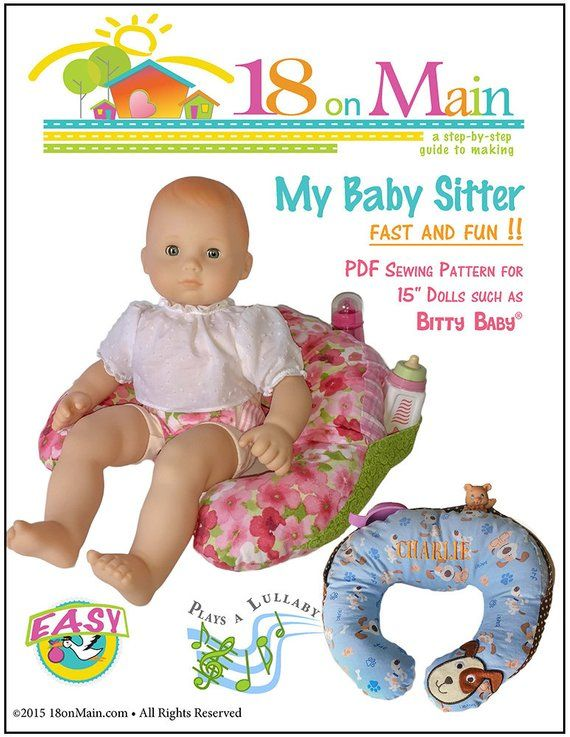 0252d2eded9 Pixie Faire 18 On Main My Baby Sitter Doll Clothes Pattern for 15 inch  Bitty Baby Dolls - PDF
