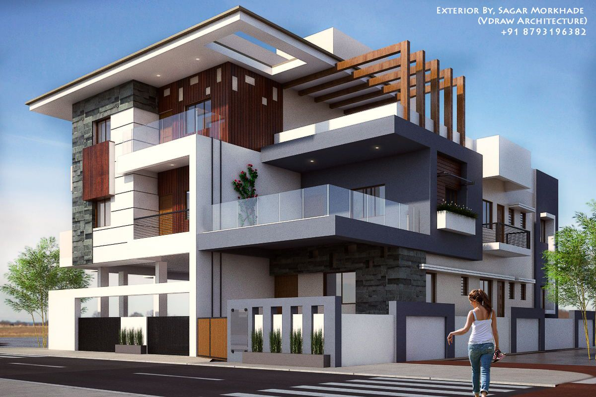 Modern Apartment Building Elevations: Exterior By, Sagar Morkhade (Vdraw Architecture) +91