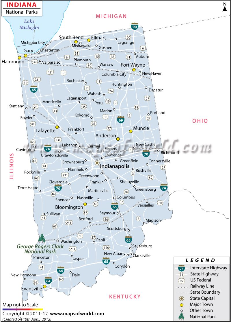 National Parks in Indiana USA Map Travel Destinations