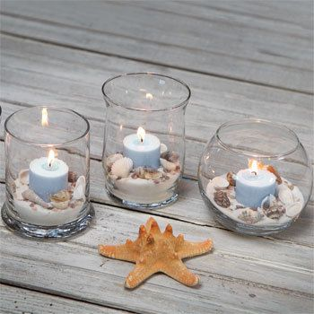 Great basket of shells Decorative Seashells Do It Yourself DIY Wedding Shower House Warming Bathroom Decor. $2.99, via Etsy.