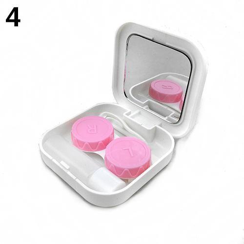 Portable Contact Lens Case Container Travel Kit Set Storage Holder Mirror Box - White