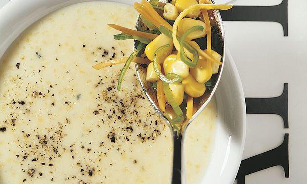 Polenta-Zitronen-Rahmsuppe: einfach veganisieren.