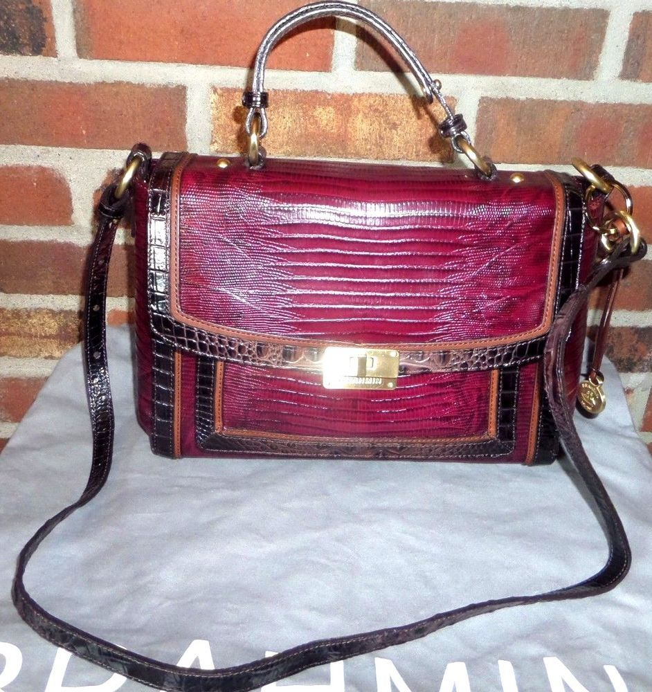 Brahmin Handbag Oxford Flap Oxblood Tri Texture Color Satchel Cross Body Vgc