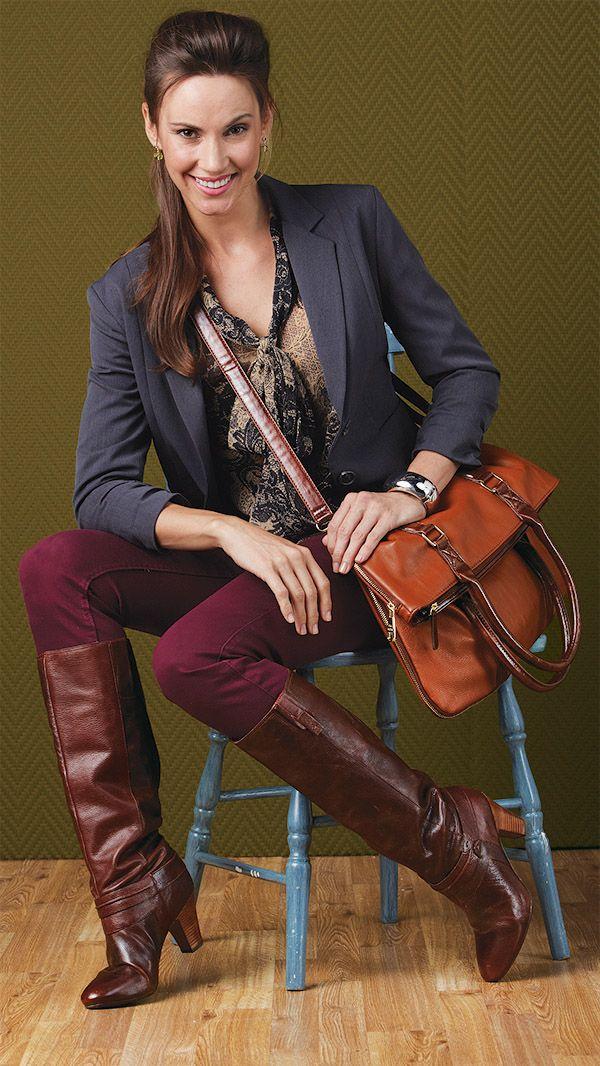 Brown boot with heel + orange cross body bag Burlington