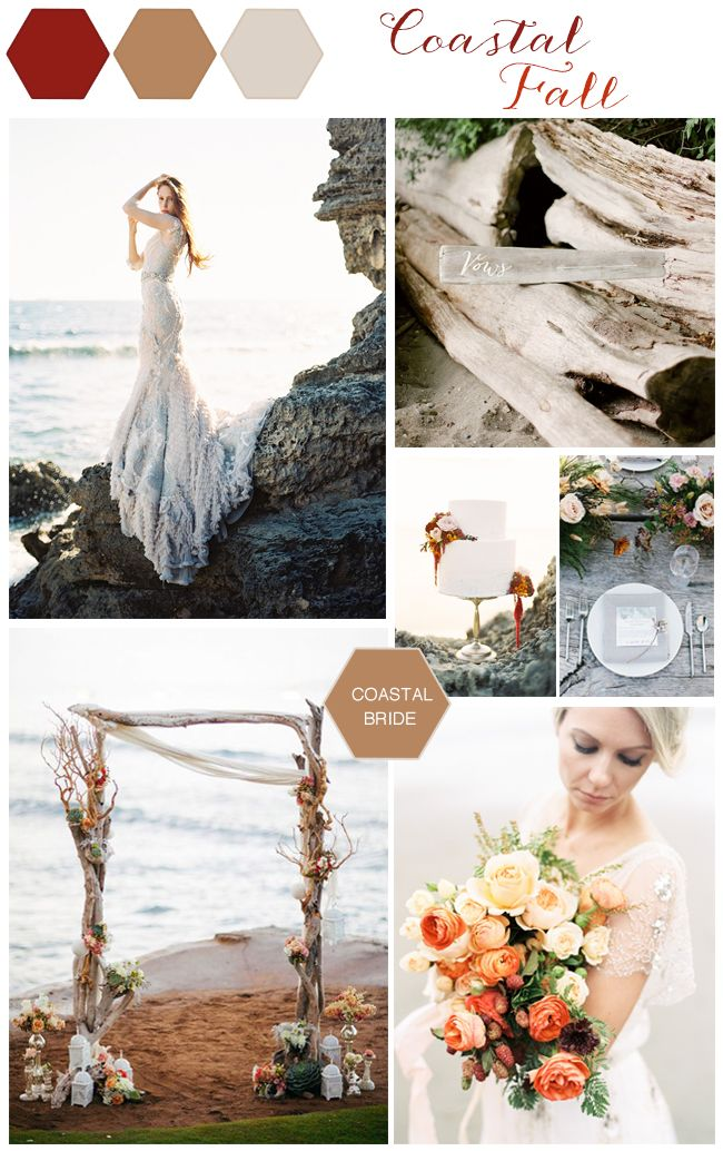 Coastal Fall Wedding Color Inspiration Fall Wedding Colors