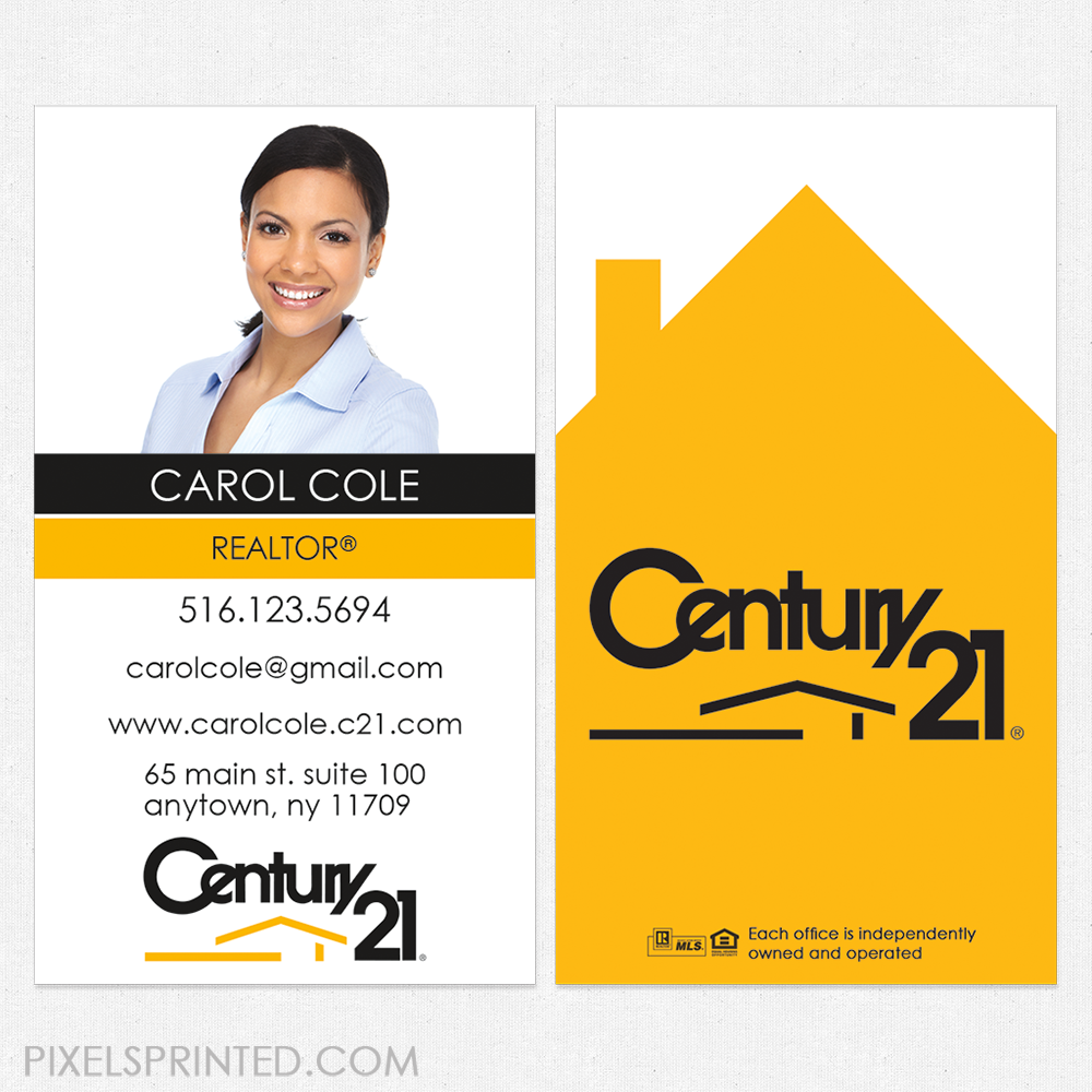 Century 21 business cards, Century 21 cards, realtor business cards ...