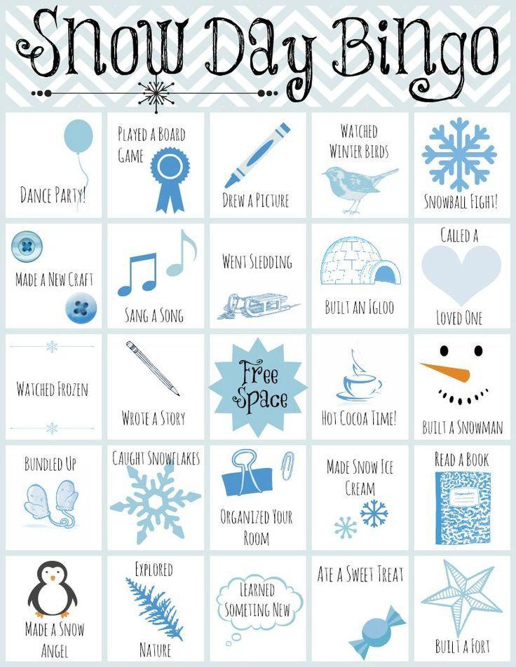 Printable Snow Day Bingo #snowdayactivitiesforkids