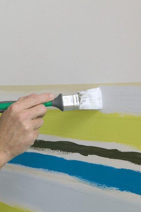 Schlafzimmer Wand Streichen Muster Abkleben Ideen