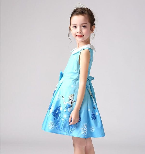 Sin mangas de la princesa vestido del bebé del verano niño niños ropa vestido Anna Elsa para las niñas nieve White Party Costume