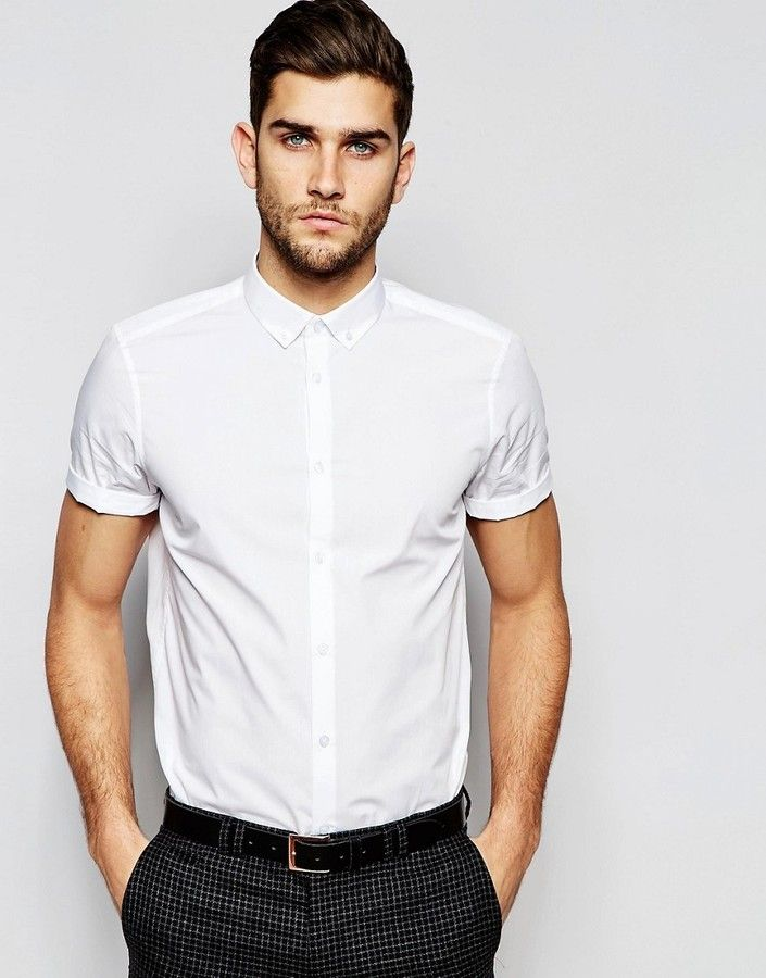 67814669f64 ASOS White Shirt With Button Down Collar In Regular Fit With Short Sleeves
