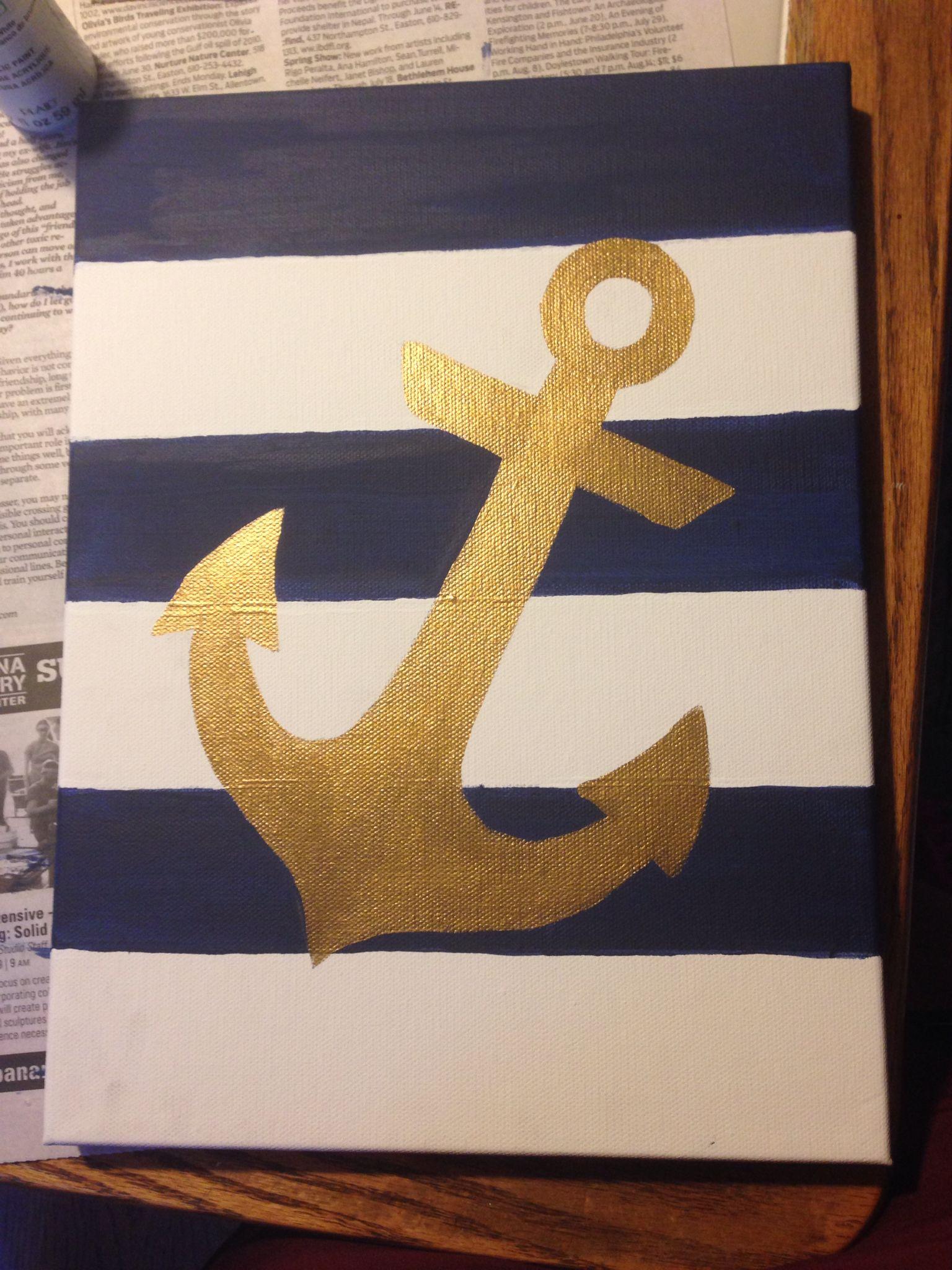 Hand Made Gold Anchor Nautical Diy Canvas Acrylic Paint Easy Canvas Painting Diy Simple Canvas Paintings Diy Canvas
