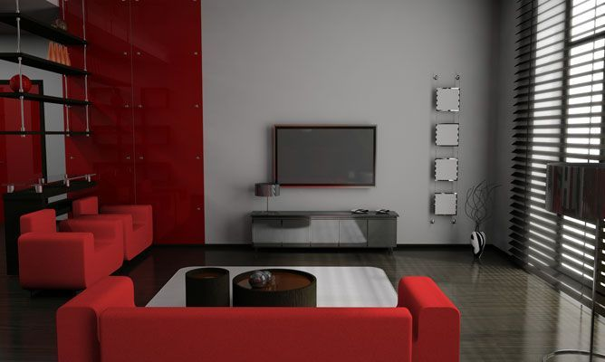 Decorar sal n en rojo negro y gris rooms homes deco - Muebles grises paredes color ...