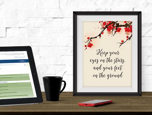 Keep Your Eyes On the Stars, Printable Art, Printable Quote, 8x10 print, Inspirational Quote, Instant Download, Motivational Quote, Desk Art by SmudgeCreativeDesign on Etsy