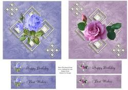 Blue And Pink Rose Toppers