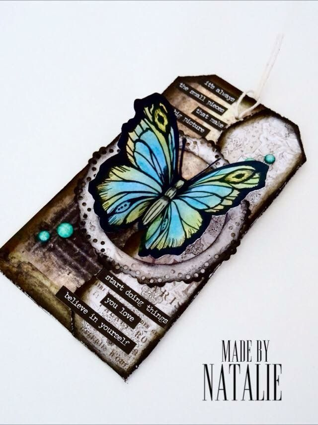 Butterfly vintage tag Handmade card