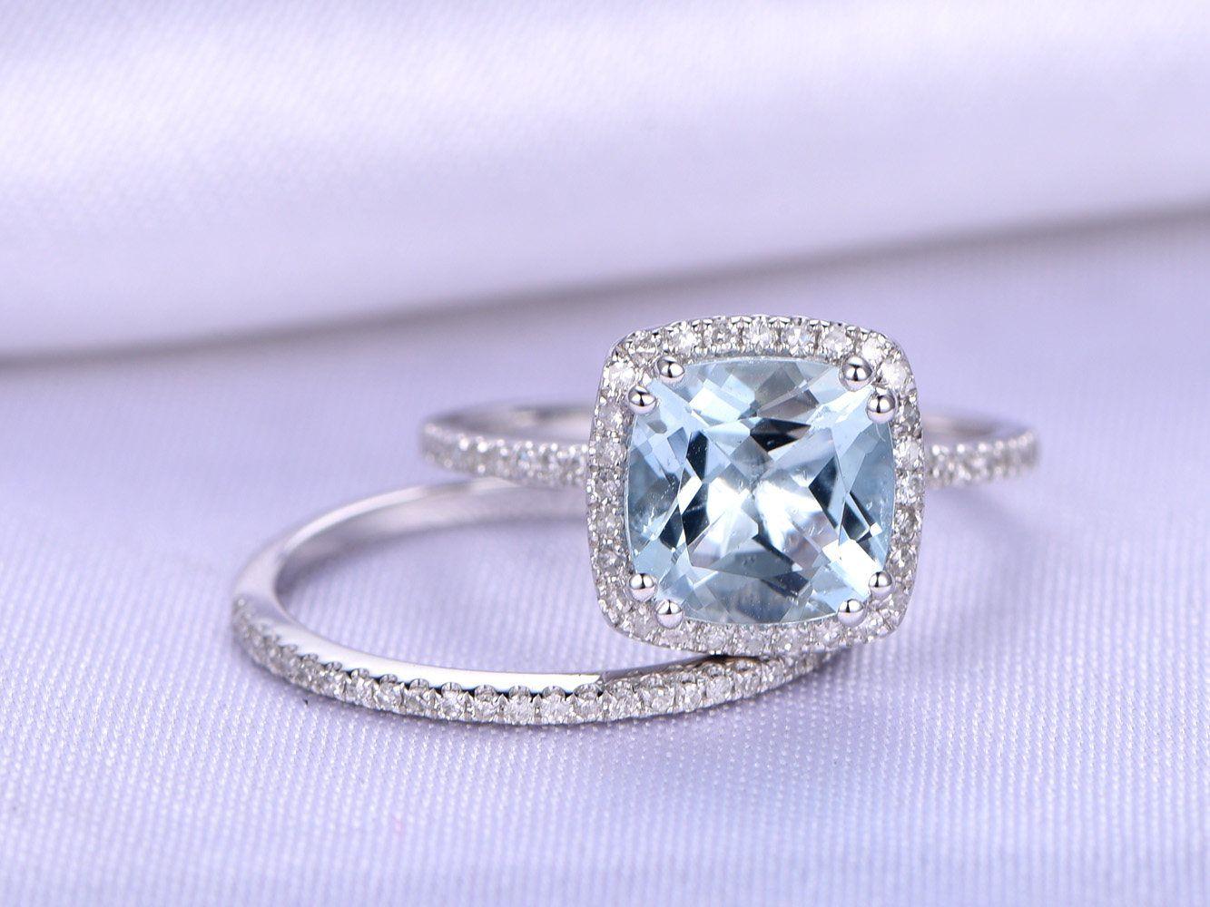 Aquamarine Ring Wedding Ring Set 8mm Cushion Cut Aquamarine