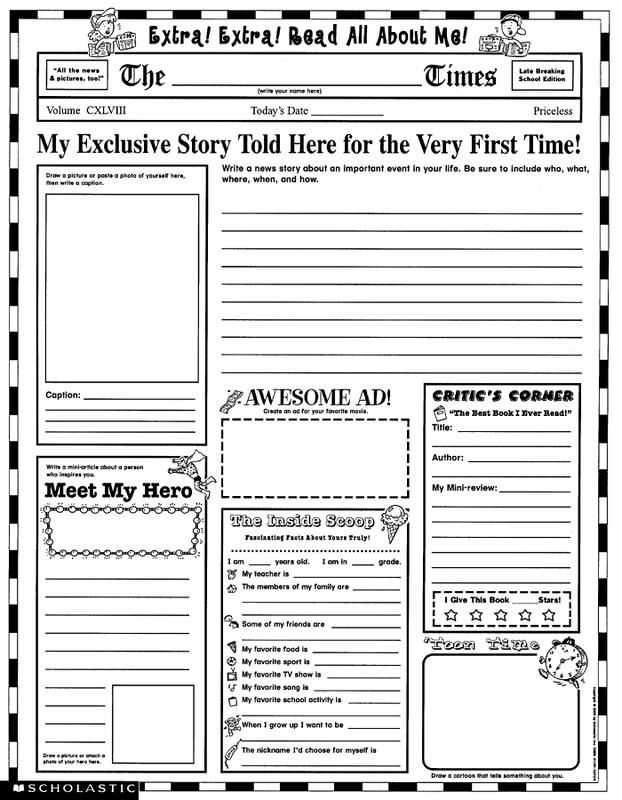 Instant Personal Poster Sets Extra, Extra, Read All About Me - newspaper templates for kids