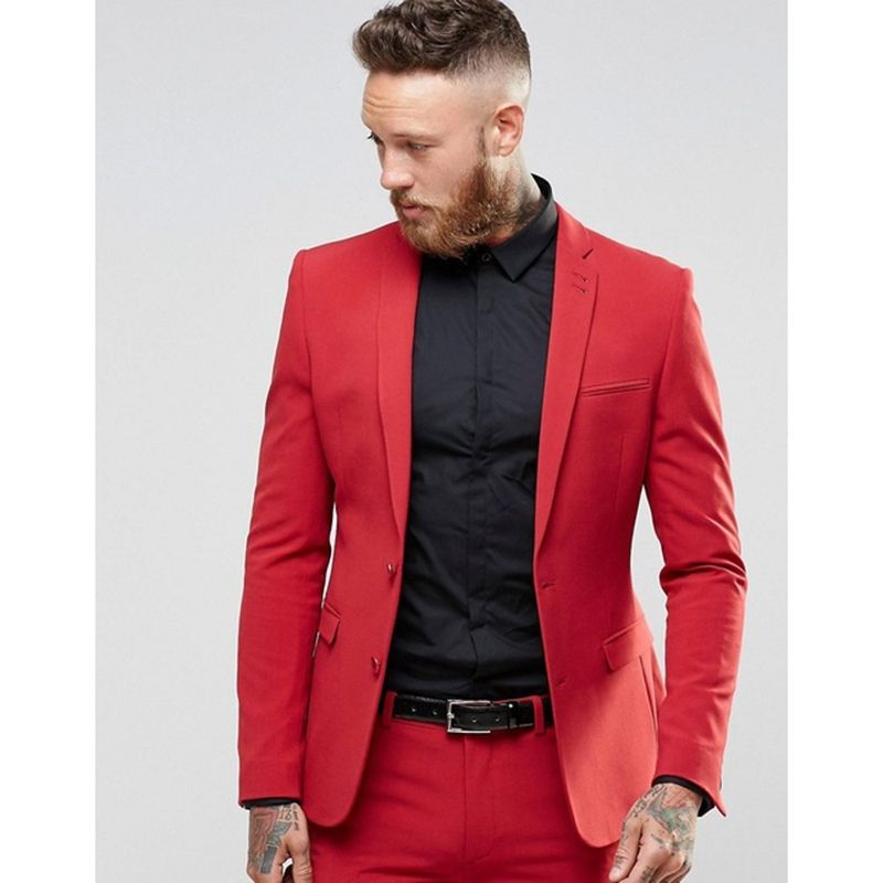 Red Men\'s Prom Tuxedos suits 2 Pieces wedding suits for men Two ...