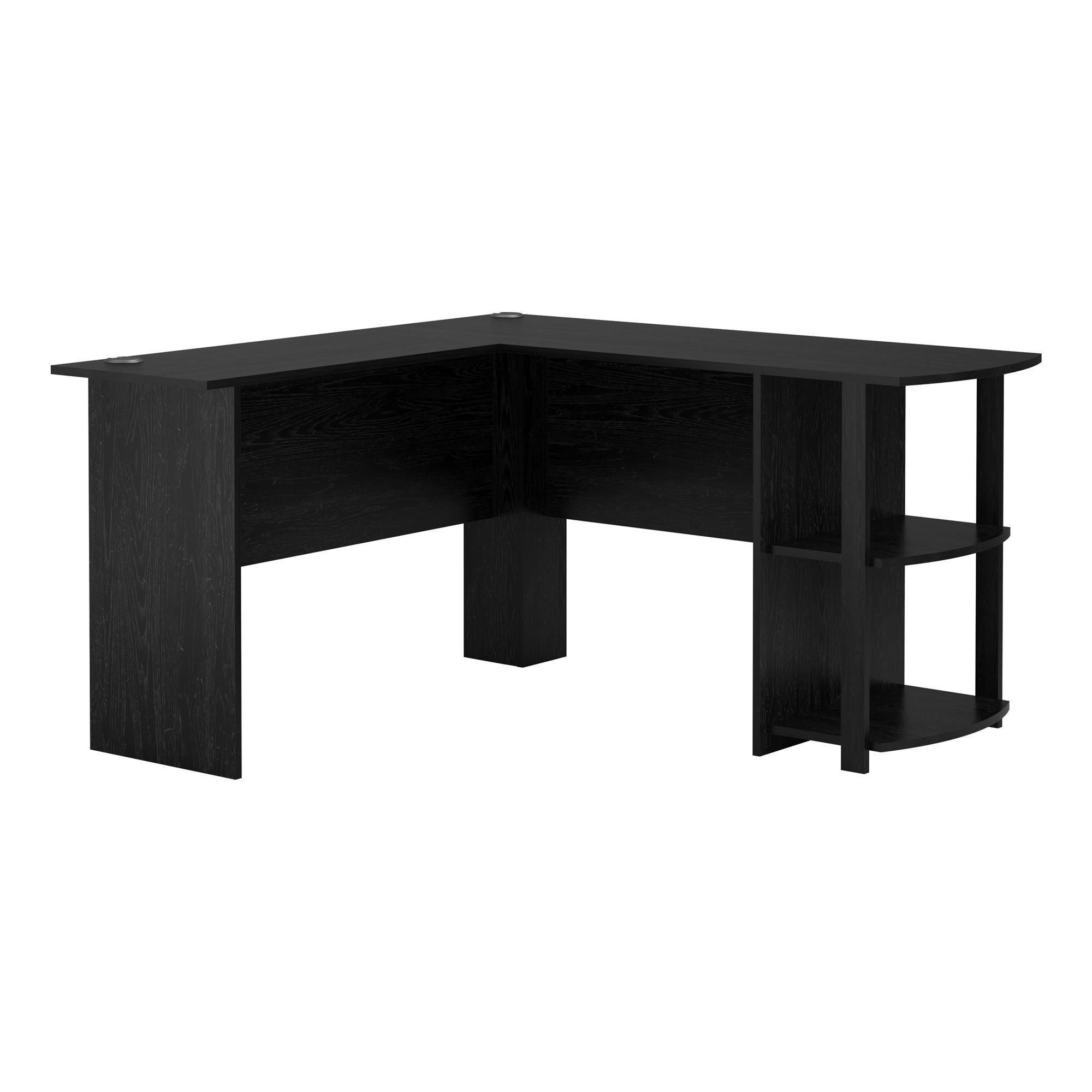 Avenue Greene Abbott L-shaped Desk with Bookshelves (Black - Black ...