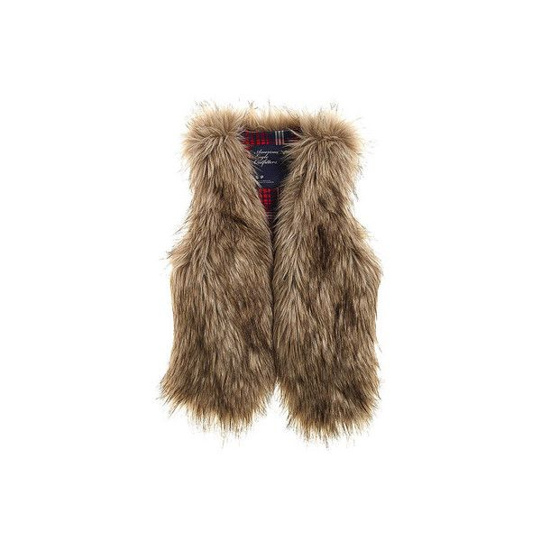 american-eagle-faux-fur-vest-profile Fashionably Yours ❤ liked on Polyvore featuring outerwear, vests, vest waistcoat, brown waistcoat, brown faux fur vest, brown vest and fake fur vest
