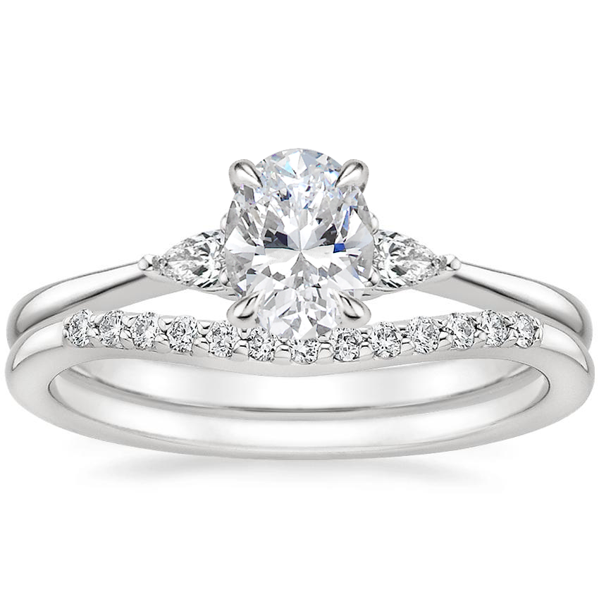 18K White Gold Aria Diamond Ring with Petite Curved