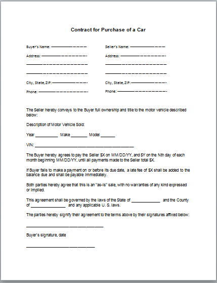 Car Purchase Contract Template – Printable Purchase Agreement