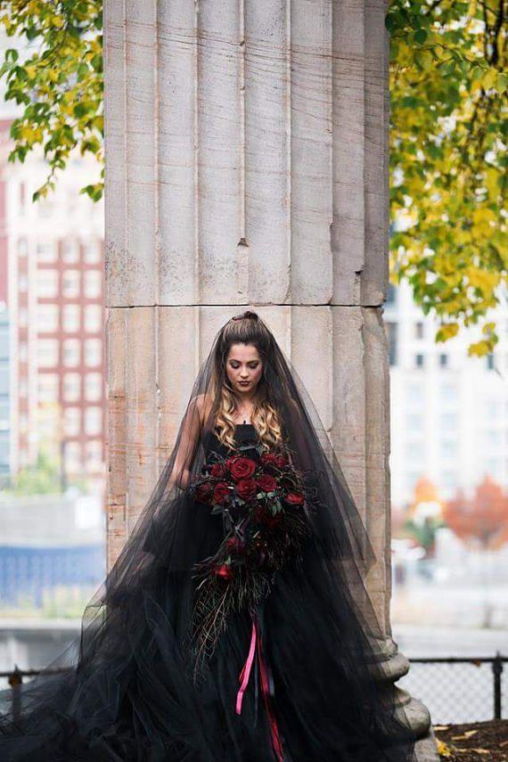 Black Bridal Veil Cathedral Vail Drop Blusher Vale Wedding Veil