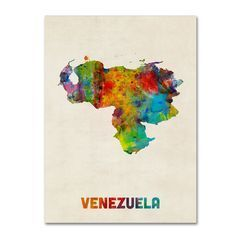 Michael Tompsett 'Venezuela Watercolor Map' Canvas Wall Art