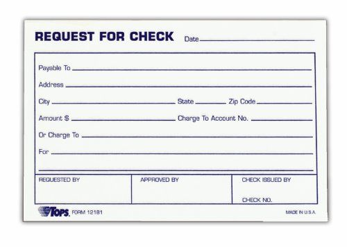 TOPS Check Request Forms, 4 x 6 Inch, 100 Sheets, 2-Pack, White - authorization request form