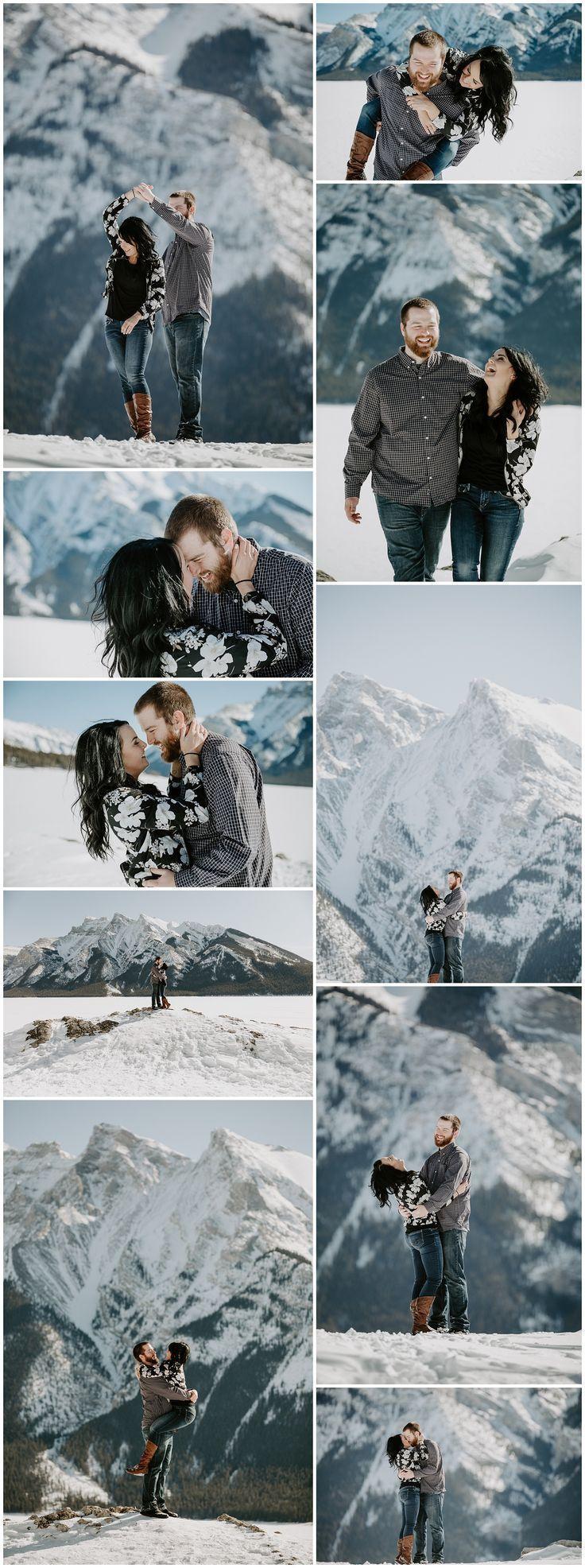 Mountain engagement. Lake Minnewanka Engagement Photos. Banff Engagement Photos. Winter Engagement at Lake Minnewanka. Winter Engagement in Banff.