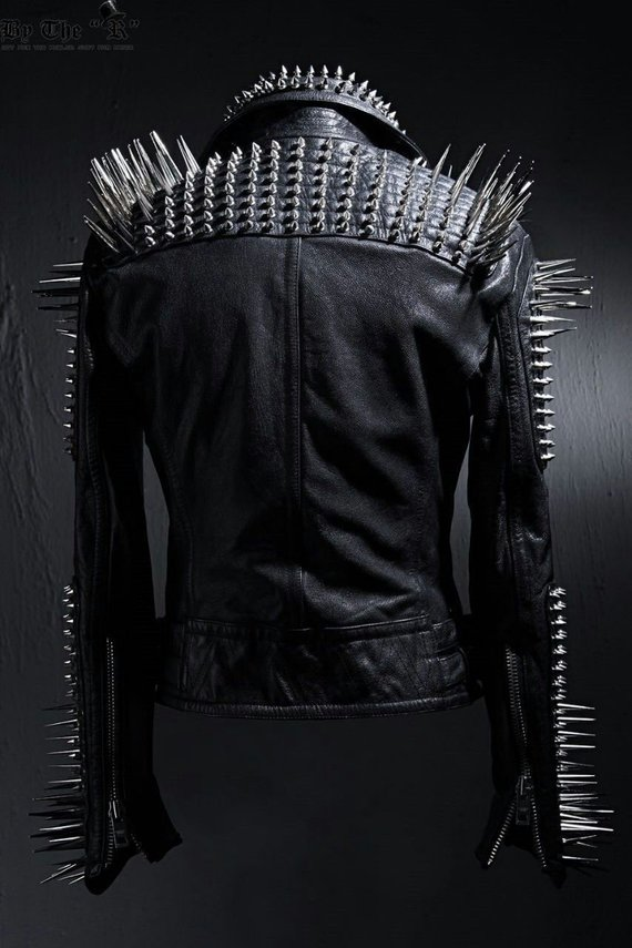792658b07 HANDMADE Mens Full Black Punk Silver Long Spiked Studded Leather ...