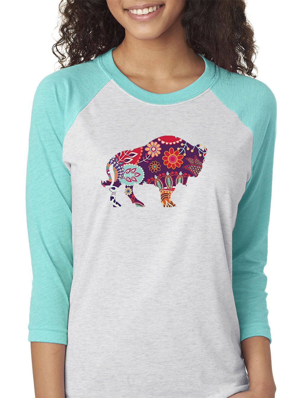 2c2461a42099 Paisley Bison 3/4 Sleeve Baseball Women's T-Shirt - Teal Pink Purple Blue  by LazyKDesignsbyCarrie on Etsy