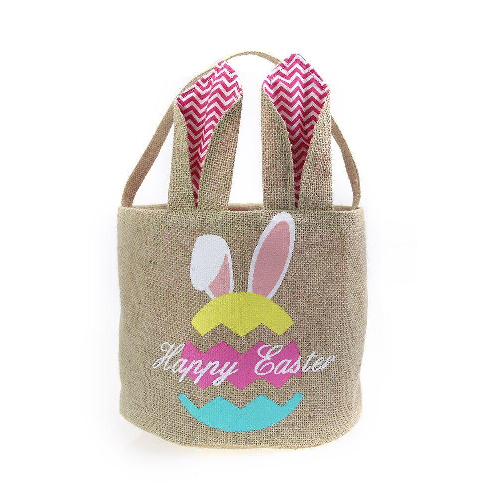 Easter basket for kids bunny bag for easter hunt eggpink