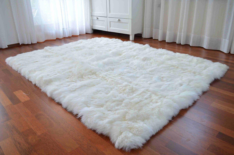 Eco Sheepskin Rug 150 X 200 Cm Real Long Haired Skeepskin White Co Uk Kitchen Home 219 Gbp