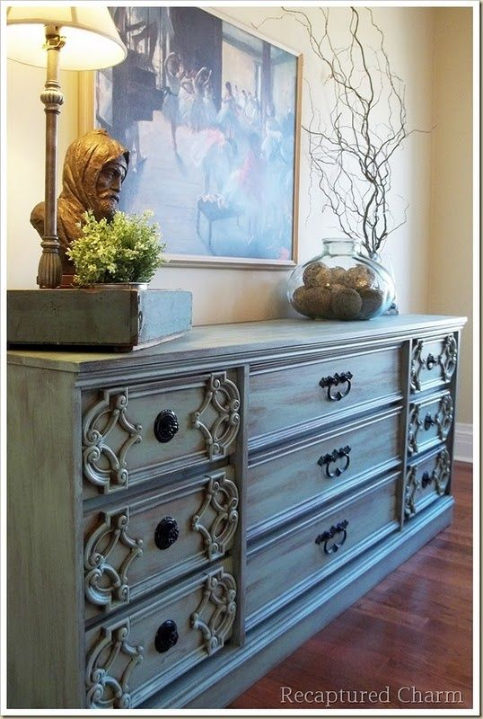 Vintage Dresser In Jade Painted Furniture A Beautiful Color Spruces Up This Old