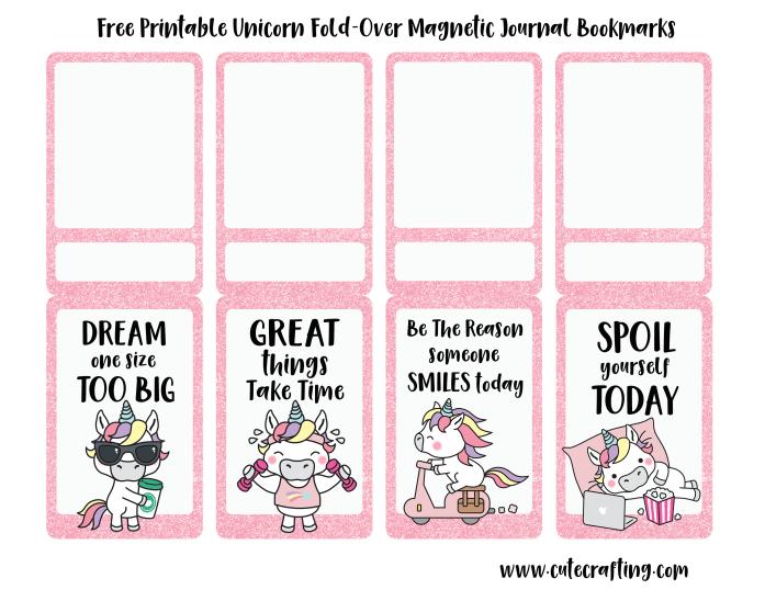 free kawaii unicorn printable magnetic bookmarks cutecrafting